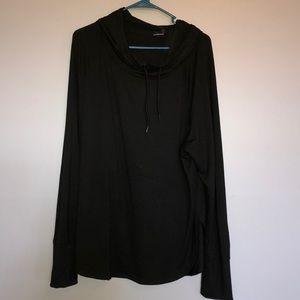 Black Long sleeve hooded shirt XL